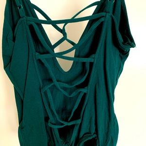 Green Express Backless Strappy Bodysuit